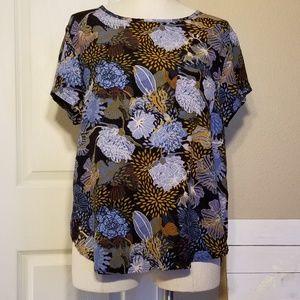 H&M Blue Floral Print Blouse